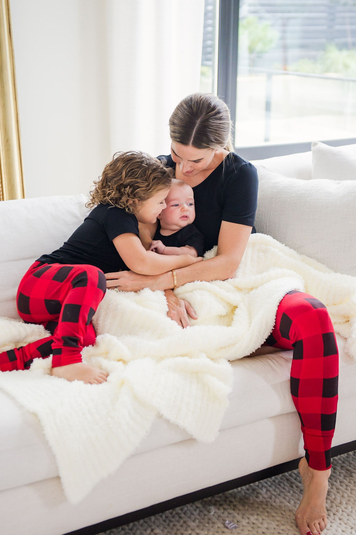 Cozy up in our exclusive lounge collection for the whole family. Made from our signature buttery french terry that you know and love, get your hands on these sets while you can! The perfect pants and t-shirt set for infants, toddlers, and kids to get festive in! 95% modal 5% spandex