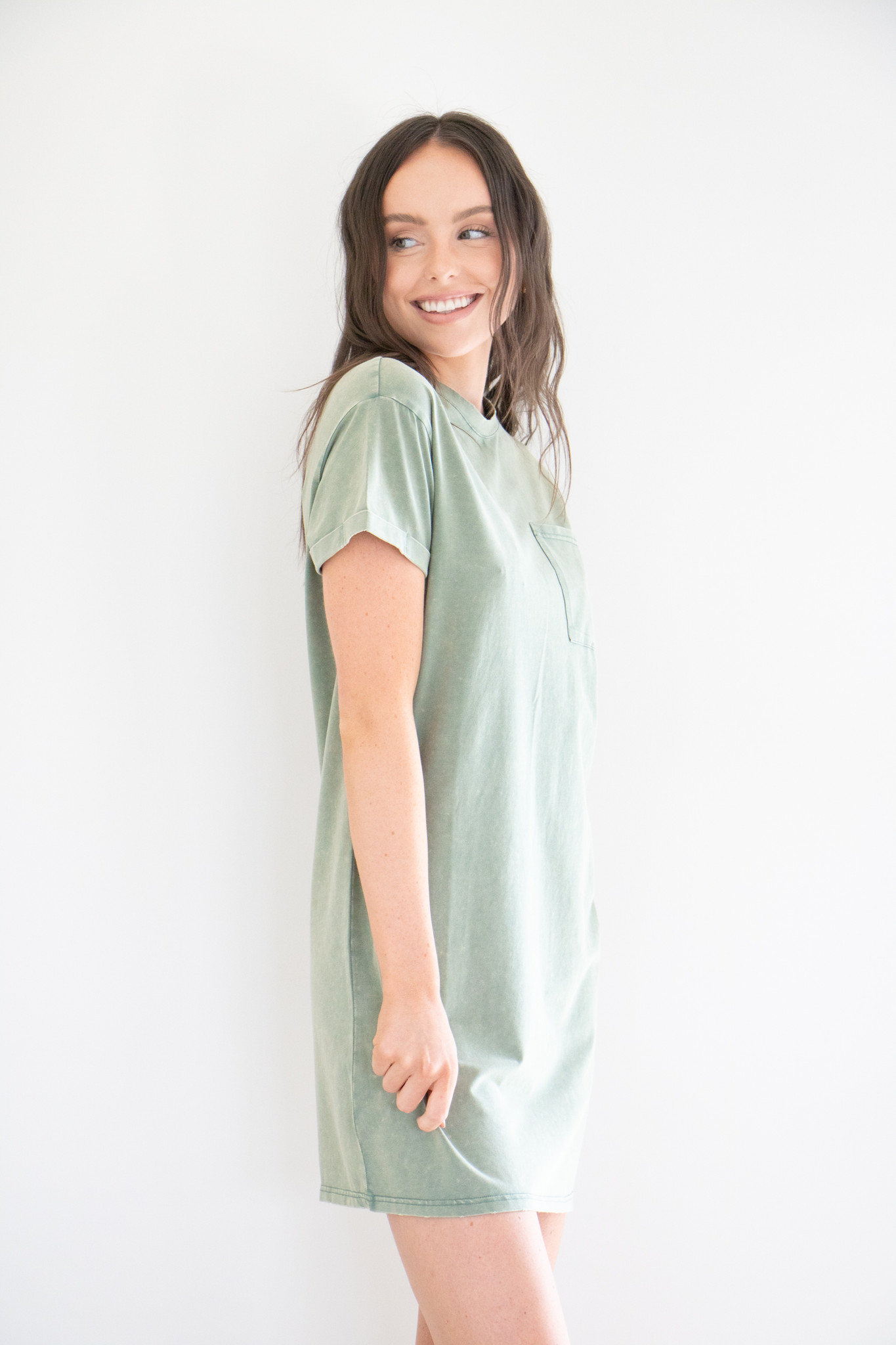 Milly Mineral Washed Tee Dress in Mineral Green