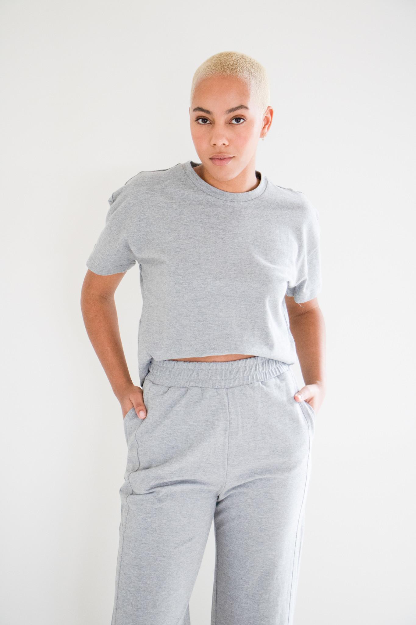 Nessa Elasticated Gaucho Leg Terry Cotton Sweatpants in Textured Grey