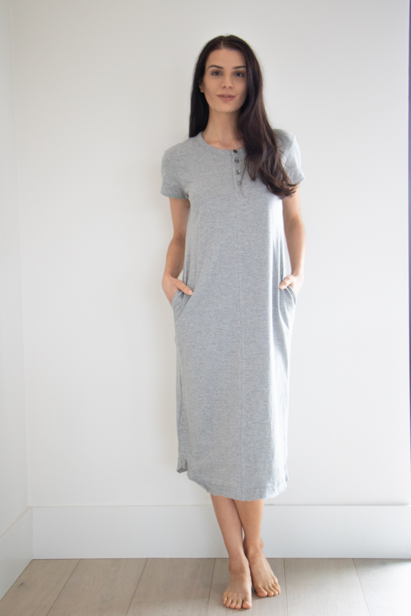 A casual basic; this henley midi dress is made from a lightweight cotton material. Perfect for a dressed down occasion, wearing for errands and lounging.