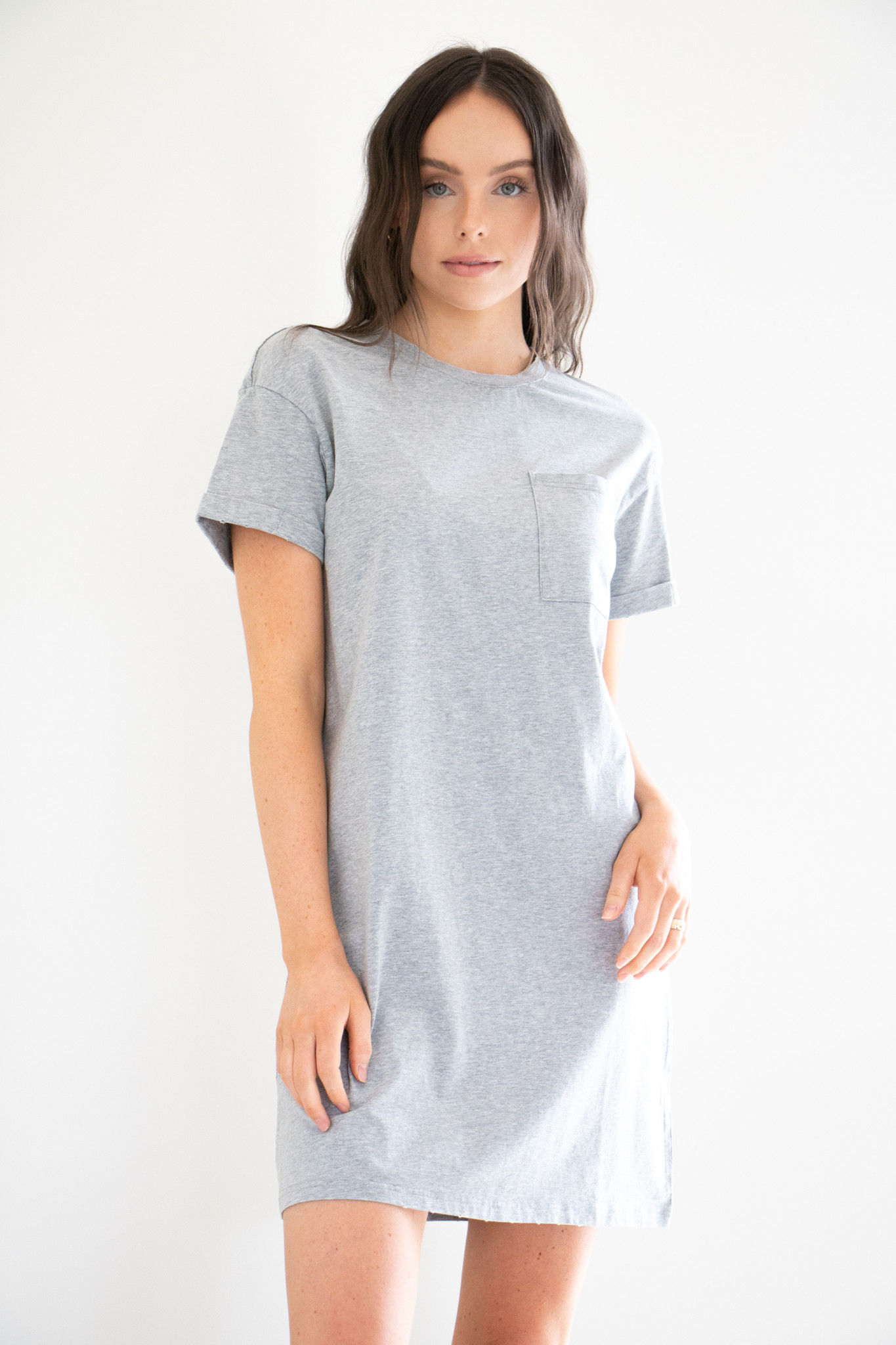 Milly Mineral Washed Tee Dress in Mineral Grey