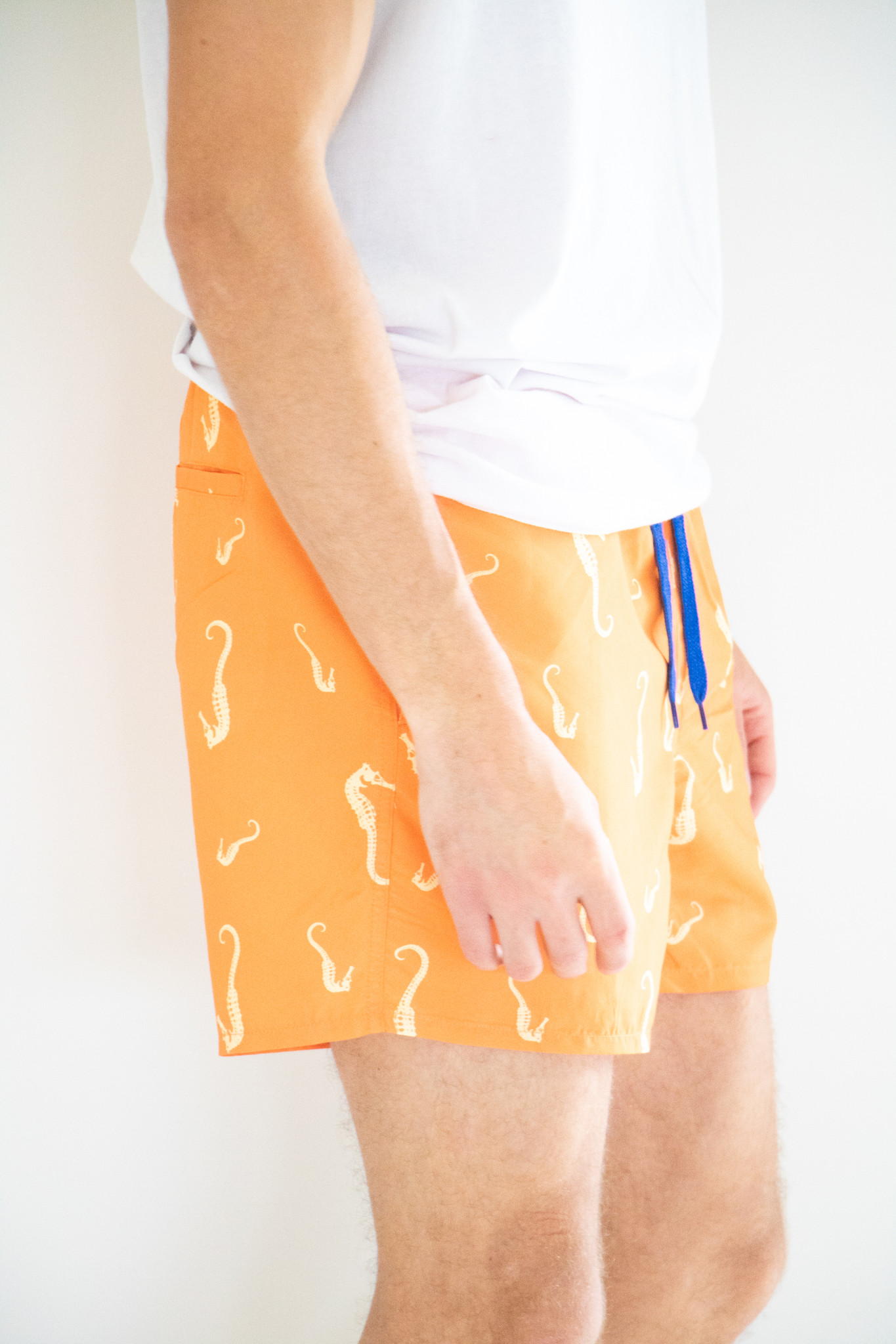 Onsted Seahorse Print Swimshorts in Vibrant Orange