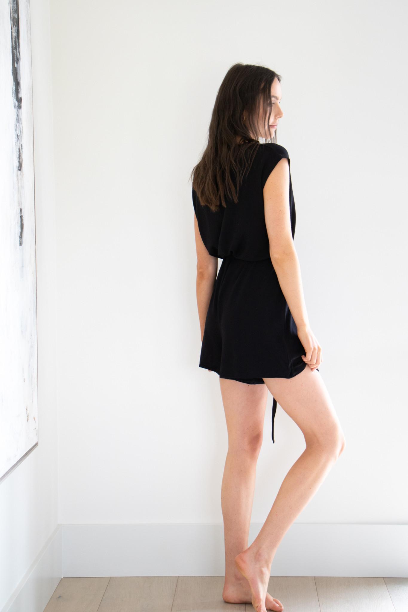 Errand Day Short Romper in Black