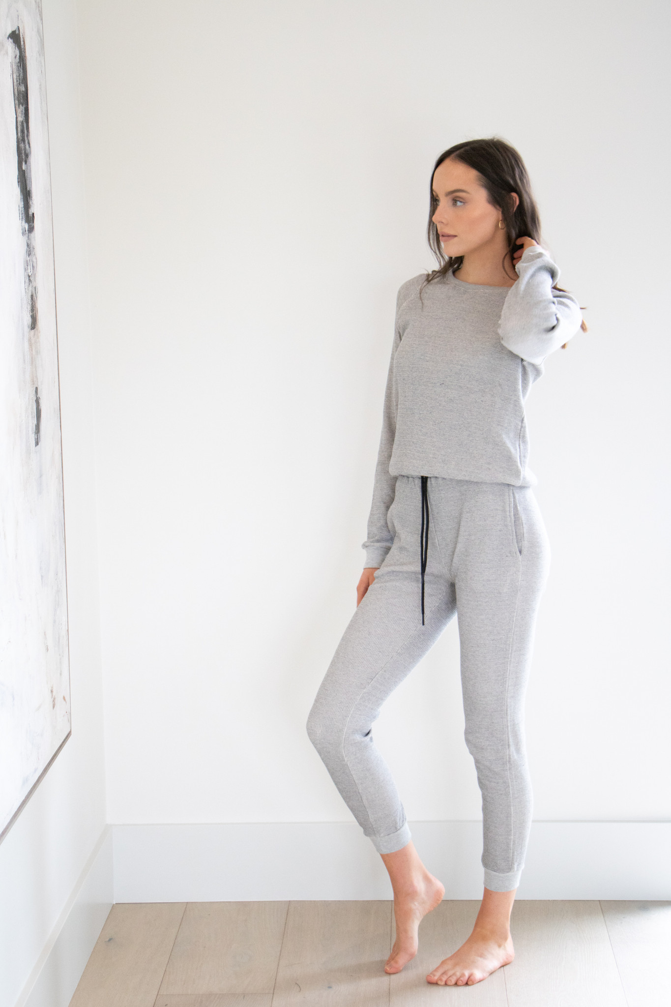 Waffle Lounge Pant in Charcoal Heather