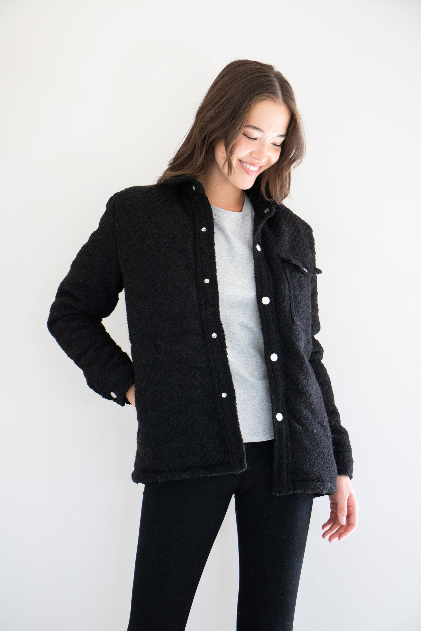 Rory Mid-Length Puffer Shirt-Jacket in Black