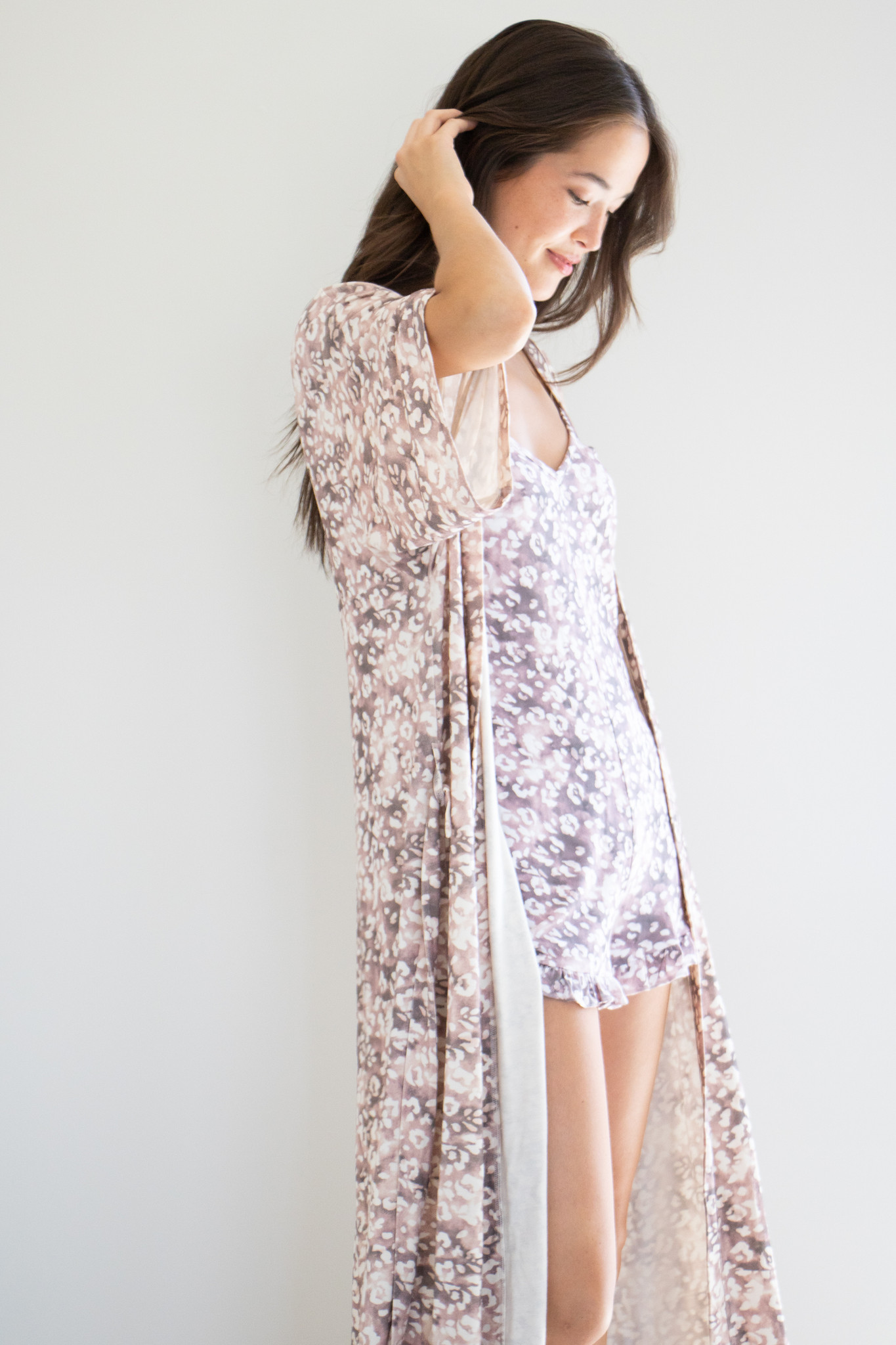 Signature Robe in Hand Printed Leopard