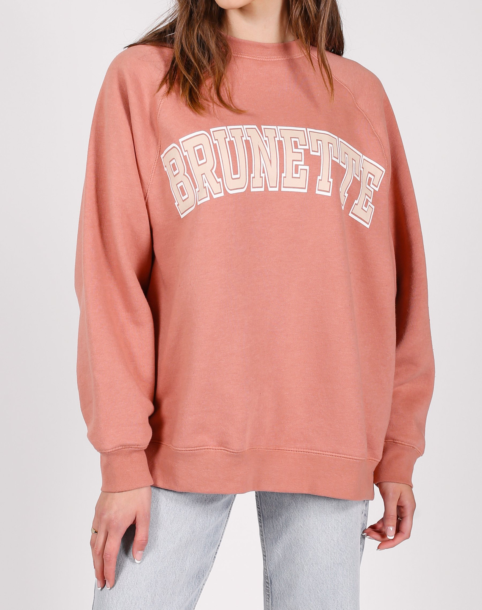 Brunette Not Your Boyfriends Crew in Rose