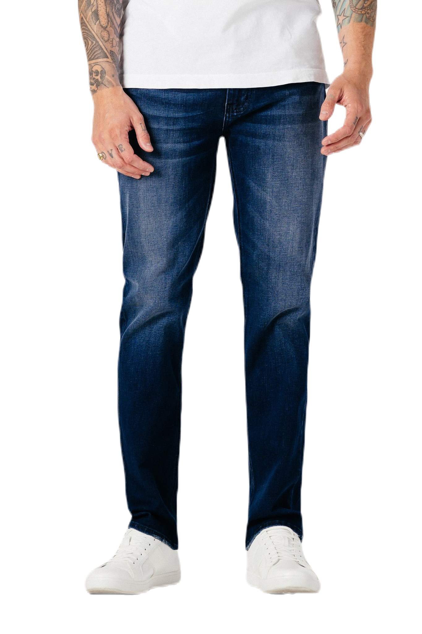 Vigorous sanding and whiskering burnish the perfectly faded blues of skinny, contour-hugging jeans made with plenty of stretch to keep you moving. Brought to you from Fidelity under the new label Modern American, these comfy jeans are lightweight with stretch, ensuring they feel soft while retaining their durability. The perfect pair of jeans.  91% Cotton 6% Elasterell 3% Spandex Machine wash cold and lay flat to dry.