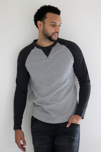 Lytton Ribbed Pullover Crew in Charcoal Sleeve
