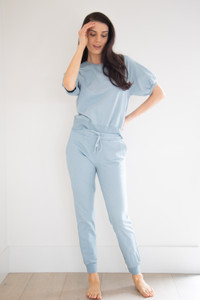 """Noa is a classic jogger style, with an elasticated waist and ankle length inseam. 2"""" ribbing and a tapered fit make this effortless to wear, and pairs perfectly with our Cora and Charlie tops."""