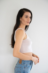 Expect super stretch from this ribbed cropped lounger. Sitting just below the bust, with a simple finished hemline across the bottom. Wears perfectly with high rise shorts or denim.