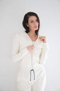 Made from a breathable mid weight textured cotton fabric, with high quality durable zipper hardware and full size pockets. Easy to lounge in and to dress up layered under your favourite jacket or bomber. Made to pair with the Waffle Lounge Pant in Cream or Cloud Blue.