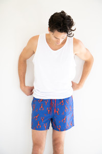 Onsted Lobster Print Swimshorts in Navy Blue