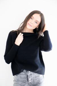 Danna Ribbed Mock Neck Boxy Pullover in Black