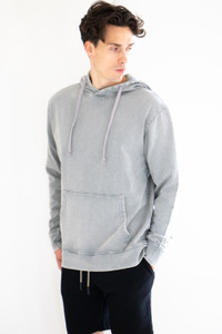 Boxy Pullover Hoodie w/ Pouch in Washed Grey