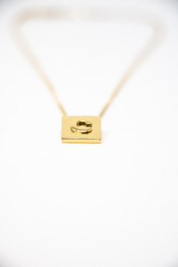 """18 Karat Gold Plated Initial 16"""" Box Necklace"""