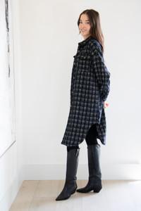 Ella Extra Long shirt Jacket in Black