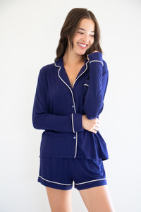 Blissful Sleep Set in Navy with Cream Piping