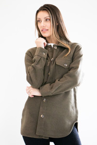 Mid Length Button Down Knit Coat in Dark Olive