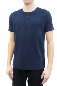 Classic Henley button down tee shirt, Featuring ribbed fabric textures throughout, 100% Cotton, Machine wash cold and hang to dry.