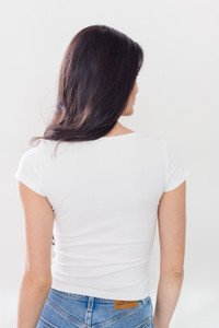 Make room in your wardrobe and say hello to our newest addition to the Basics by Priv collection; The Femme Top. This ribbed henley tee features a cropped body with a scoop-neckline, snap down buttons and ribbing in four staple colours; Grey, Black, White and Soft Rose.  Femme Ribbed Henley Tee NEW 48 PRIV COLLECTIONS
