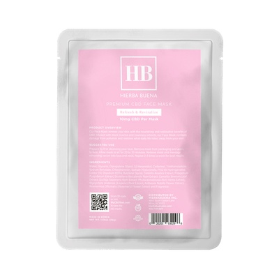 Hierba Buena's Premium Face Mask renews your skin with the nourishing and restorative benefits of CBD. Infused with black licorice and rosemary extracts, Hierba Buena's Premium Face Mask combacts damage from pollution and restores what daily life takes away from your skin.