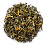 Organic passion fruit tea blended with organic green tea and organic marigold petals