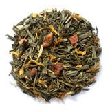 Organic peach green tea with organic peach pieces and organic marigold petals