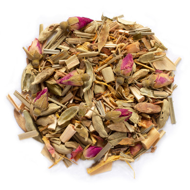 Om Tea Blended With Cardamom, Licorice Root, Fennel Seed, Ginger Root, Cinnamon Chips, Rose Buds, Lemon Grass, with Natural Flavor