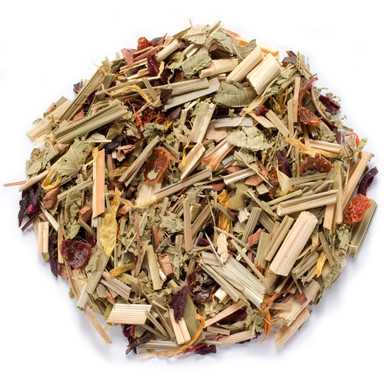 Pure organic African summer tea with fragrant spices of hibiscus rose hips lemongrass and eucalyptus leaves