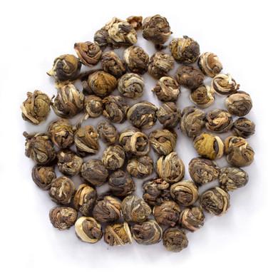 Jasmine pearls tea blended with hand picked jasmine buds