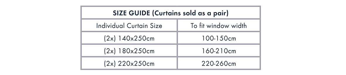Curtains size guide | Pillow Talk