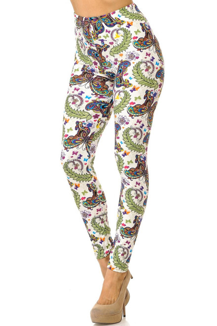 Dainty Ivory Butterfly Plus Size Leggings-IVORY-OS