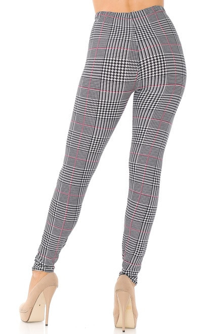 Burgundy Accent Houndstooth Plaid Plus Size Leggings- plus- black and white
