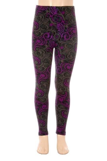 Purple Tangled Swirl Leggings-os-purple