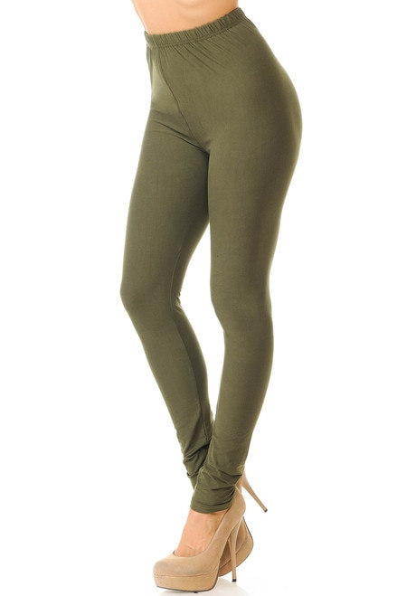 Basic Solid Leggings - New Mix-os-olive
