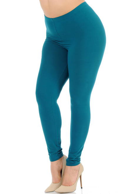 Basic Solid Plus Size Leggings - New Mix-plus-teal