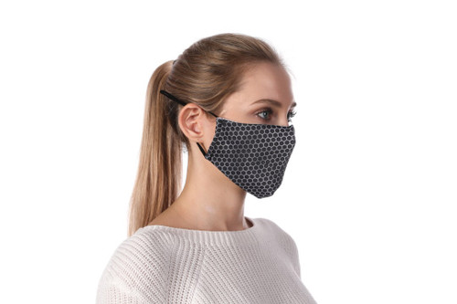Steel mesh Honeycombed print. Soft poly cotton mask. adjustable elastic straps. Cotton filter pocket. Filters sold separately