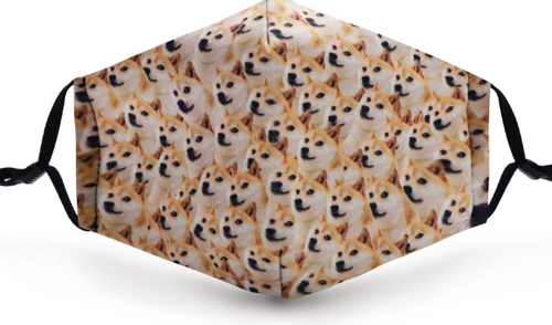 Shiba Imu Doggy Poly Cotton Mask with pocket filter