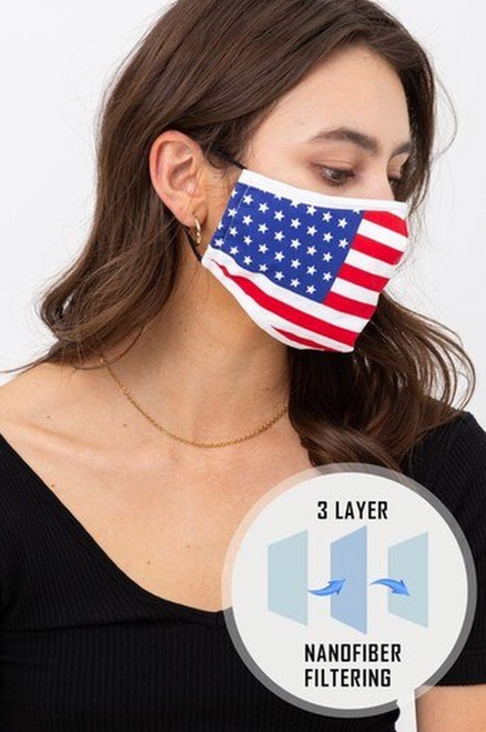 THIS MASK FEATURES: Rear Pocket for PM2.5 Filter Nose Bar (Wire) for Adjustable Nase Closure Built-In Microfiber Filter Washable and Reusable NOTE: Face Masks Can Be Effective To Help Protect Against Certain Airborne Dust, Allergens, Smoke, Pollution, Ash, Pollen As Well As The Spread Of Oral Liquids. Protective masks will only help prevent and not guarantee protection from contaminants. Caution and common sense must always be used.  Imported A Fabulous USA Flag Print Fashion Face Mask A Wonderful Stylish Way to Freshen Up Your Face Mask Collection Skin Friendly Lining An Easy to Wear Face Mask for General Purpose and Oral Liquid Transmission Comfortable Elastic Supports OUTER:Lace: 100% Cotton INNER: 100% Cotton Hand Wash - Machine Washable - COLD DRY Civilian Use - Non Medical