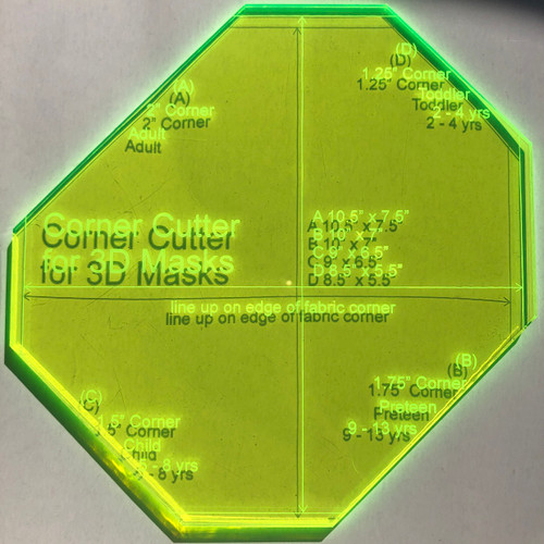 Who's making 3D masks? Here's a sample of different dimensions. I have a hack that might be of interest to 3D mask makers. Cutting the corners consistently is key to a good fit. I'm asking if there's enough interest to design a new acrylic template that will help. We will be making masks for a while.