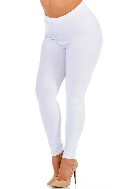 Buttery Soft Basic Solid Extra Plus Size Leggings - 3X-5X - New Mix WHITE