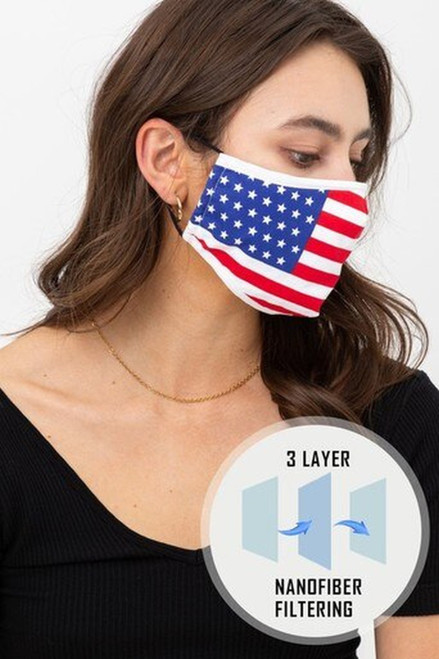 USA Flag Fashion Face Mask with Built In Filter and Nose Bar