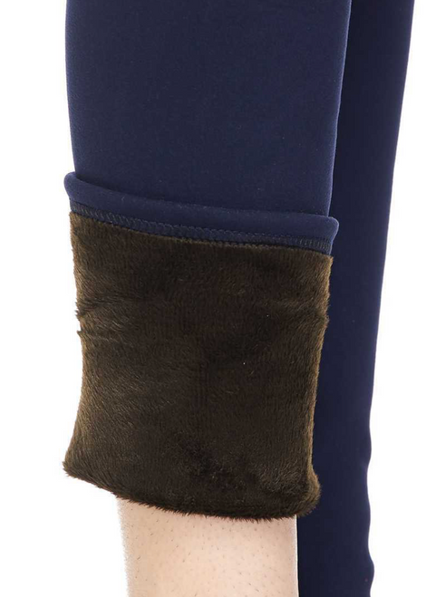 NAVY SOLID WARM FUR LINED LEGGINGS S/M