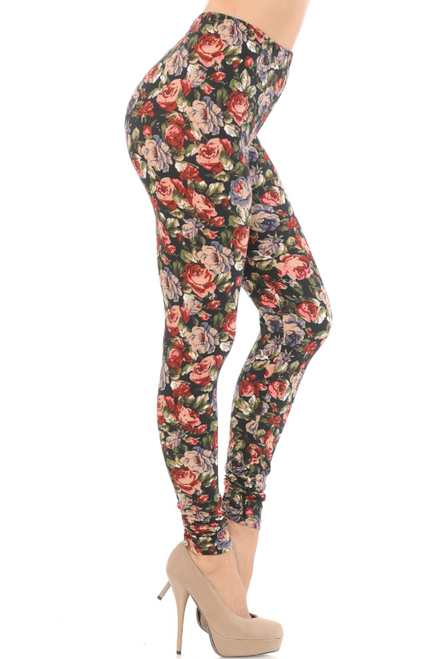 Vintage Floral Rose Leggings