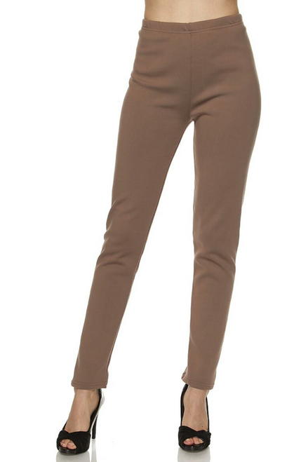 L/XL MOCHA SOLID WARM FUR LINED LEGGINGS L/XL