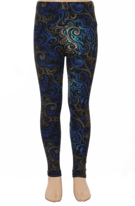 Kid's Blue Tangled Swirl Leggings last one of S/M