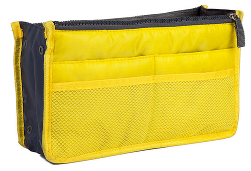 Yellow Purse Organizer Lightweight Nylon 13 Pockets!