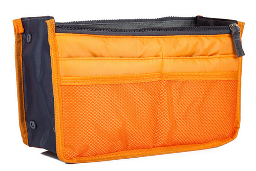 Orange Purse Organizer Lightweight Nylon 13 Pockets!