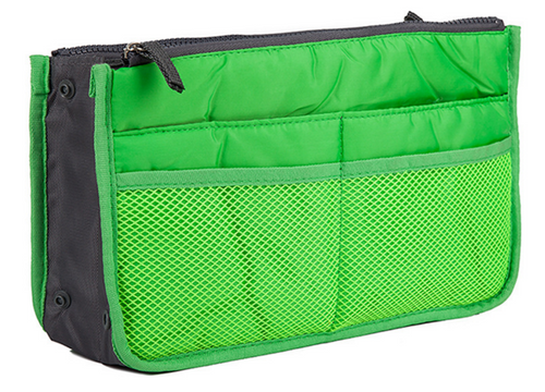 Green Purse Organizer Lightweight Nylon 13 Pockets!